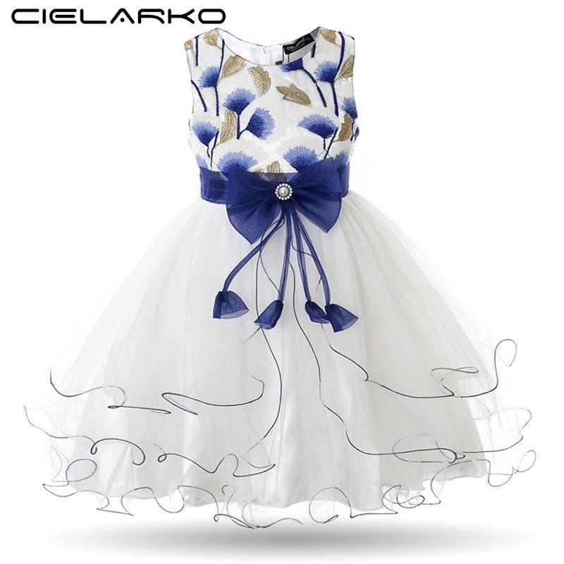 Cielarko Filles Robe Gingko Broderie Enfants Partie Robes Bébé Robes De Bal De Mariage Maille Enfants De Bal Robes Robes pour Fille