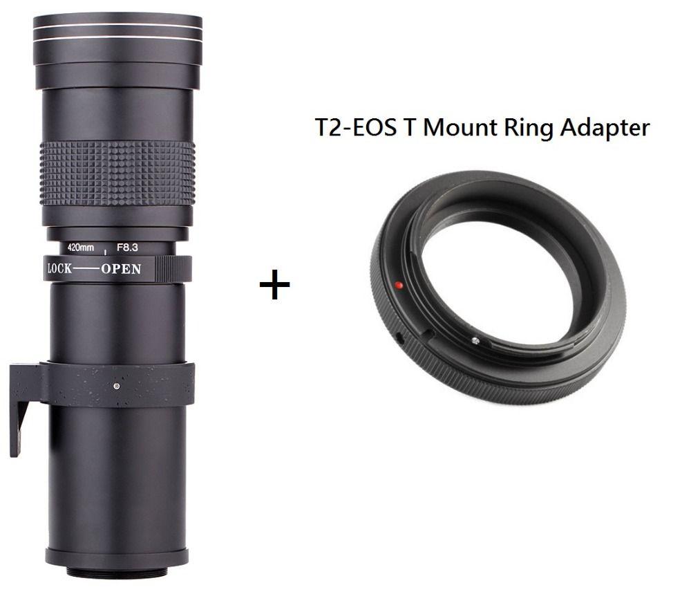 Lightdow 420-800mm F/8.3-16 Super téléobjectif Zoom manuel + adaptateur de bague de montage T2 pour Canon EOS DSLR caméra EF EF-S objectif de montage