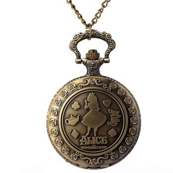 Vintage Copper Pocket Watch Bronze Necklace Quartz Fob Watch Women Ladies Necklace Pendant Chain Clock Christmas Brithday Gift