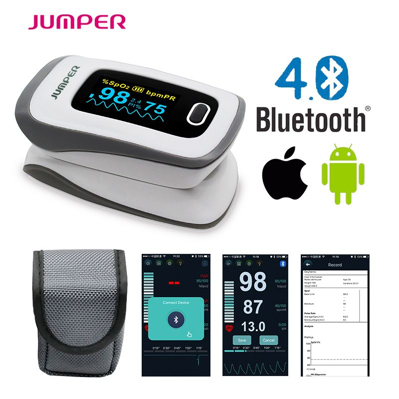 2017 JUMPER newest Bluetooth Fingertip Pulse Oximeter Oximetro de dedo Blood <font><b>Oxygen</b></font> Saturation Oximetro a finger for Health Care