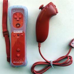 2 en 1 remoto inalámbrico + control Nunchuk para Nintendo Wii Motion Plus consola de juegos con funda de silicona accesorios
