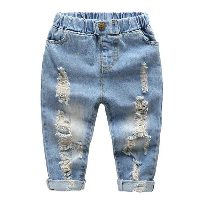 Для маленьких мальчиков весенние джинсы джинсовый синий отверстия Жан детские рваные модные брюки Повседневная одежда для малышей Детская...