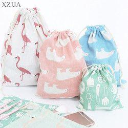 XZJJA Портативный рисунок фламинго, на шнурках сумка для хранения для путешествий Костюмы обуви белье пучок ассортиментные наборы, пакет Орга...