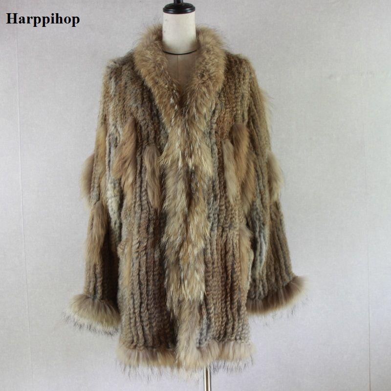 2018 Spain Russia USA Canada popular Women knitted real genuine real rabbit fur coat overcoat jackets garment raccoon collar