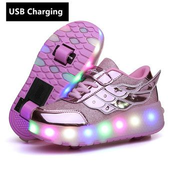 New One wheels USB Charging Fashion Girls Boys LED Light Roller Skate Shoes For Children Kids Sneakers With Wheels Two wheels