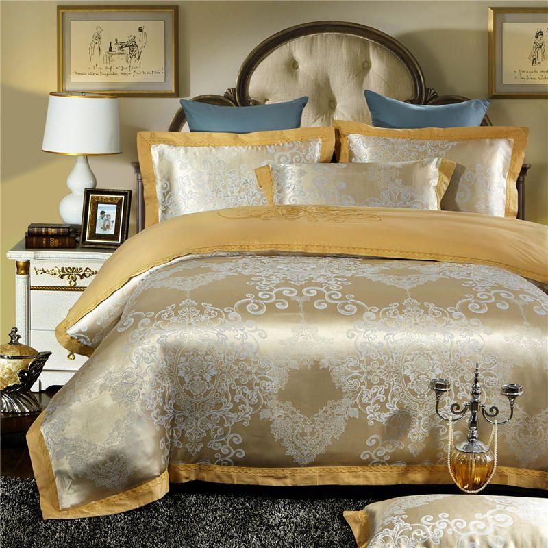 2018New Satin Jacquard Bedding Set Queen King size Duvet Cover Bedsheet set Linens Bed set Pillowcases