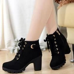2017 New Autumn Winter Women Boots High Quality Solid Lace-up European Ladies shoes PU Fashion high heels Boots
