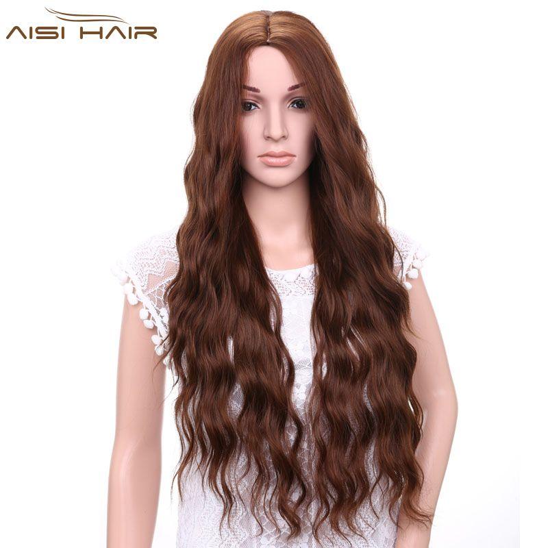 Je de une perruque Synthétique Brun Blonde Rouge Noir Résistant À La Chaleur Cheveux Vague D'eau Perruques pour les Femmes Noires