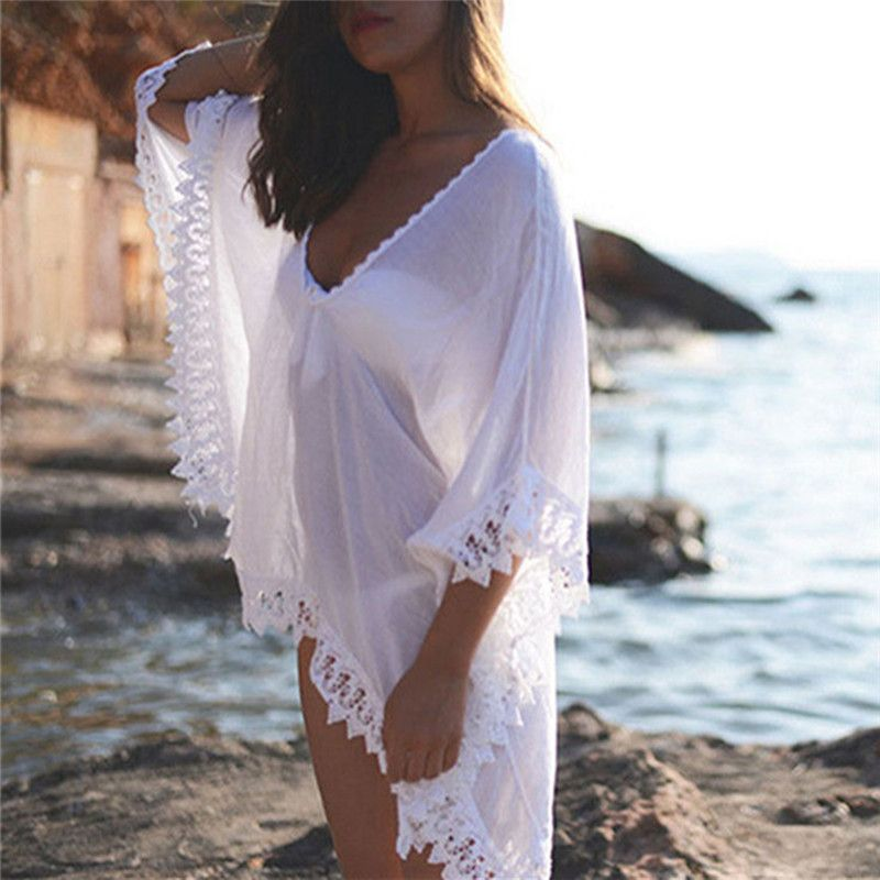 Vertuschung Strand Bademode Sommer Kaftan Bademode Kleid Weißen Bikini Swinwear Badeanzug Cover Up Plage