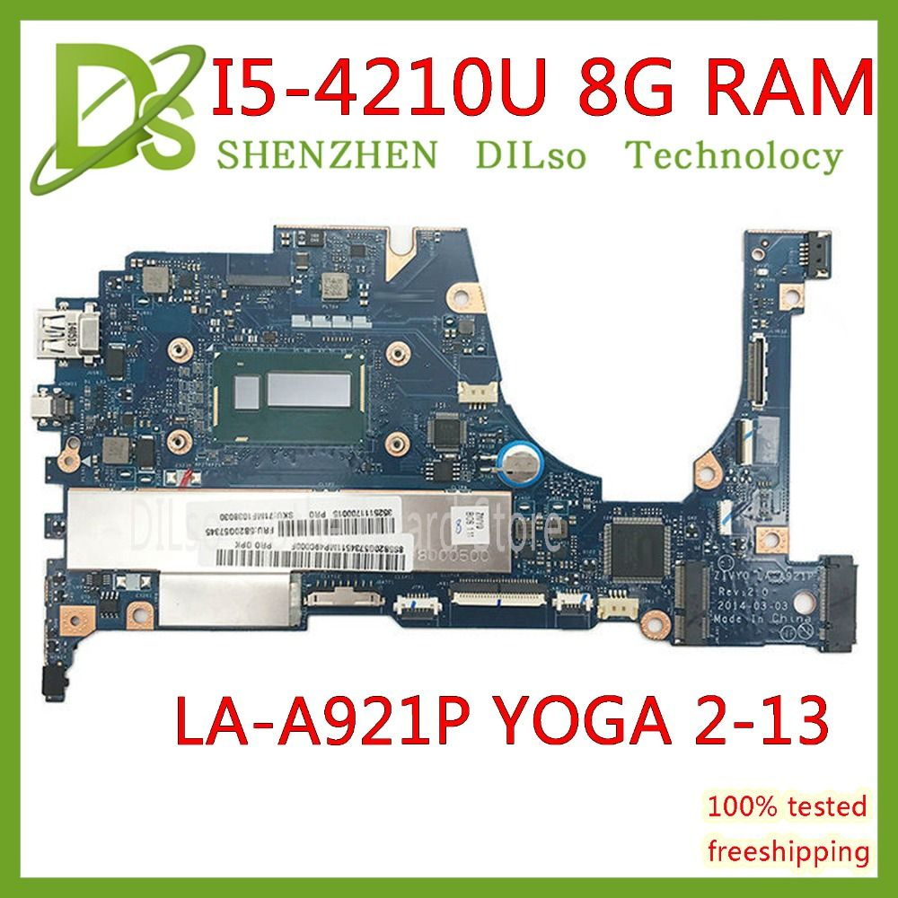 KEFU for Lenovo YOGA 2 13 Laptop Motherboard FRU 5B20G19207 LA-A921P with I5-4210U 1.70GHz CPU 8GB RAM original mothebroard