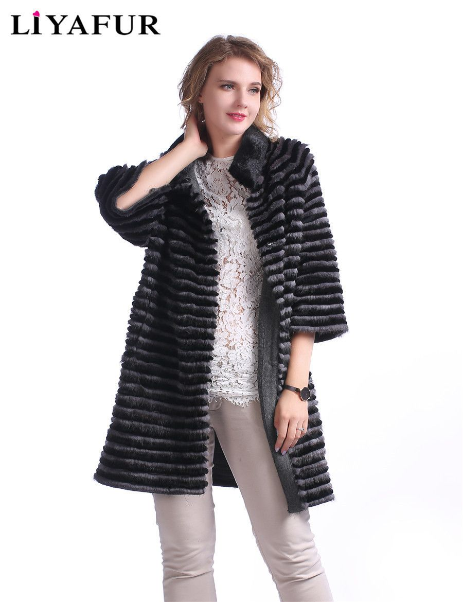 LIYAFUR New Style Real Genuine Mink Fur With Rex Rabbit Fur Stripped Long Coat For Women Natural Fur Cardigan Lining Outerwear