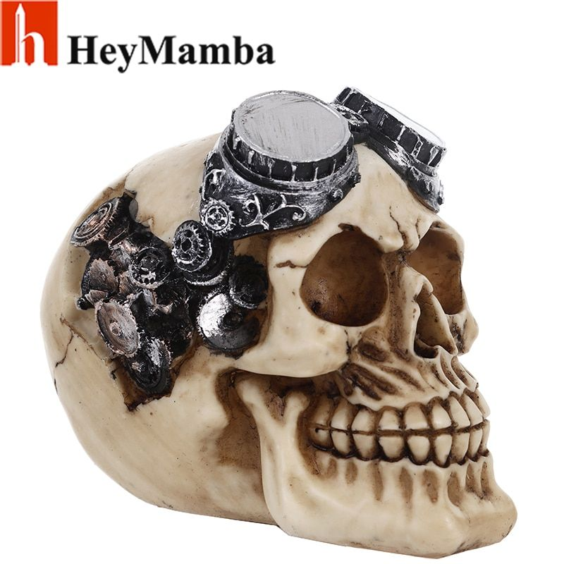 HeyMamba Resin Skull Statue Figurine Robotic Skeleton Human Steampunk Skull Pilot with Goggles Sculpture Collectible