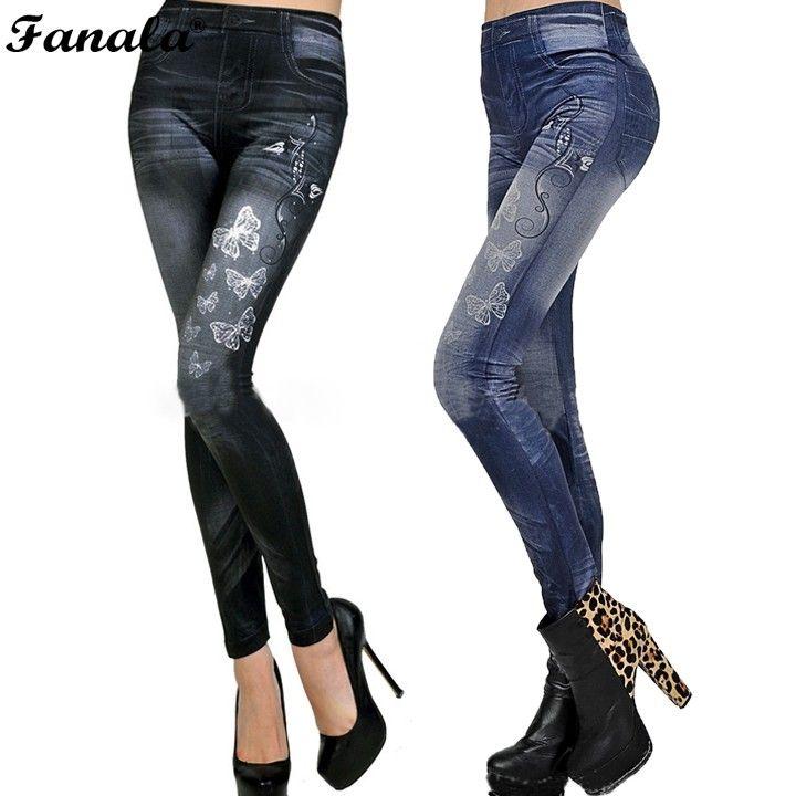 2018 Sexy Jeans leggings Elásticos para las mujeres Sexy Leggins Jeggings Imprimir Casual Denim Jean Pantalones Lápiz Primavera Otoño Pantalones #30