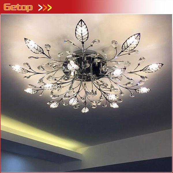 GETOP European-style Crystal Chandelier Leaf Ceiling Lamp for Bedroom Living Room LED G4 Lighting Gold/Silver (D90/120cm H22cm)