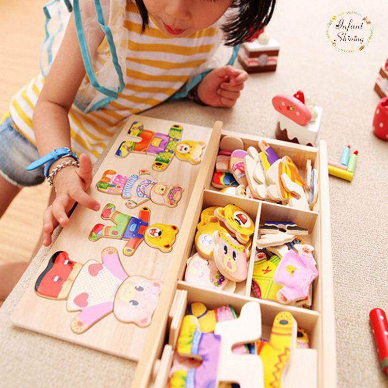 Infantile Brillant Bébé Ours Changement Vêtements Puzzle Building Block de La Petite Enfance En Bois Jigsaw Cadeau Jouets 1-4y 72 pcs Modèle Kits