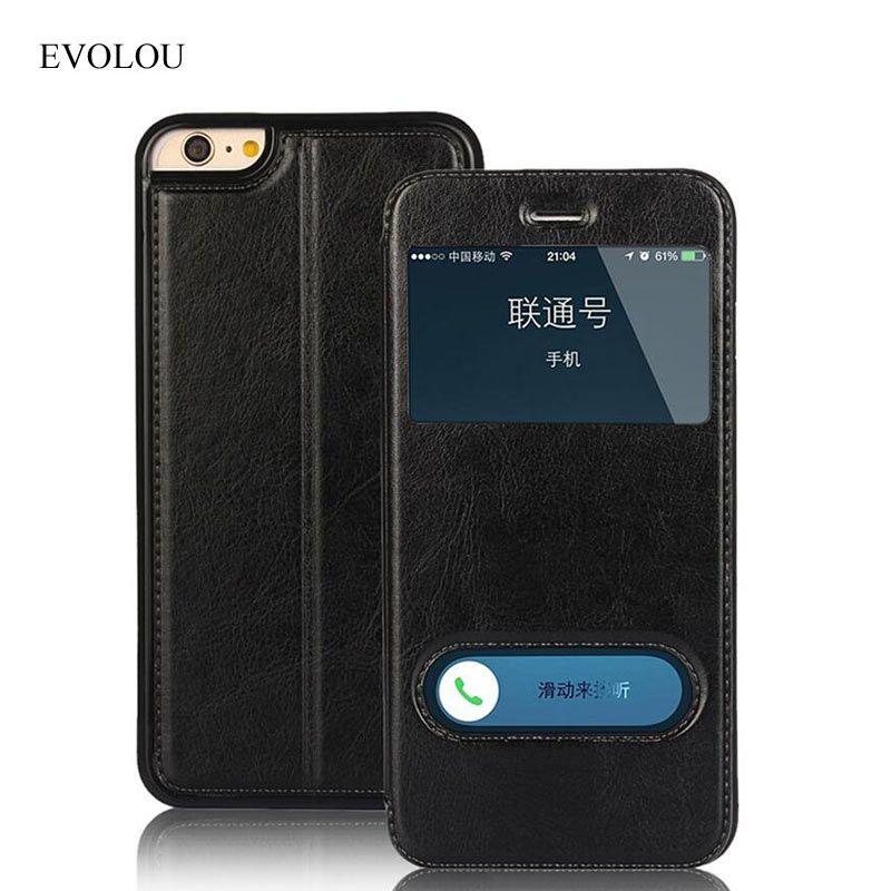 Coque pour IPhone 7 étui vue fenêtre réponse rapide Flip housse en cuir pour Apple Iphone XS SE 5 S 6 S 7 8 Plus sac de téléphone Fundas