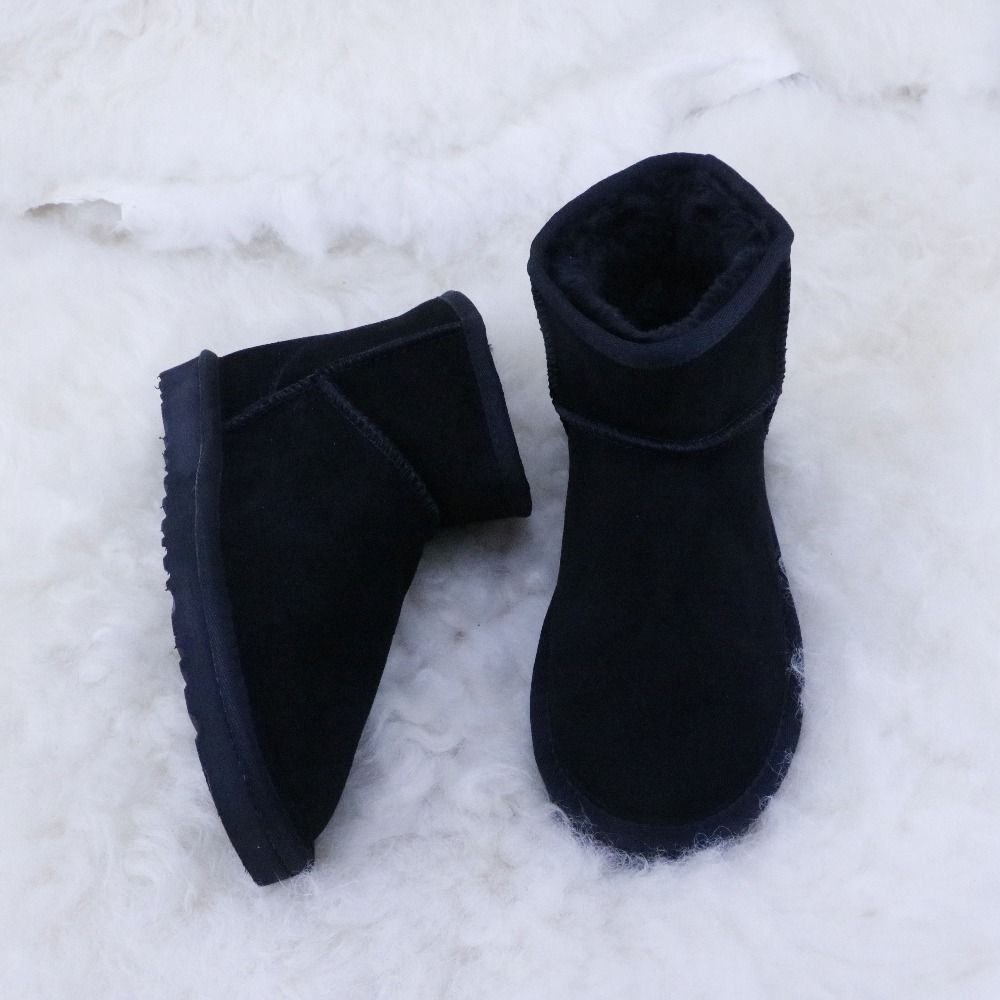 Free Shipping High quality Women's Classic Snow Boots Genuine Leather Ankle Boots Warm Winter Boots Woman Shoes HKUGC