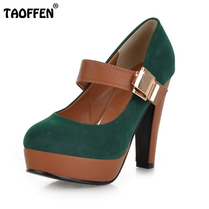 TAOFFEN Women Stiletto High Heel Shoes Platform Buckle Lady Quality Footwear Escarpin Heeled Pumps Heels Shoes P2583 Size 34-43