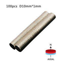 100 piezas 10mm x 1mm imán de neodimio Mini pequeño disco redondo materiales magnéticos