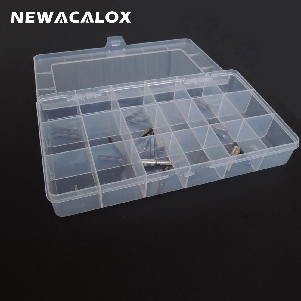 NEWACALOX boîte à outils en plastique Transparent composant électronique boîte de rangement cercueil SMD pièces en métal vis conteneur bricolage outil