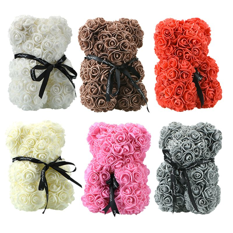2018 Hot Sale 25cm Soap Foam Bear of Roses Teddi Bear Rose Flower Artificial New Year Gifts for Women Valentines Gift Christmas
