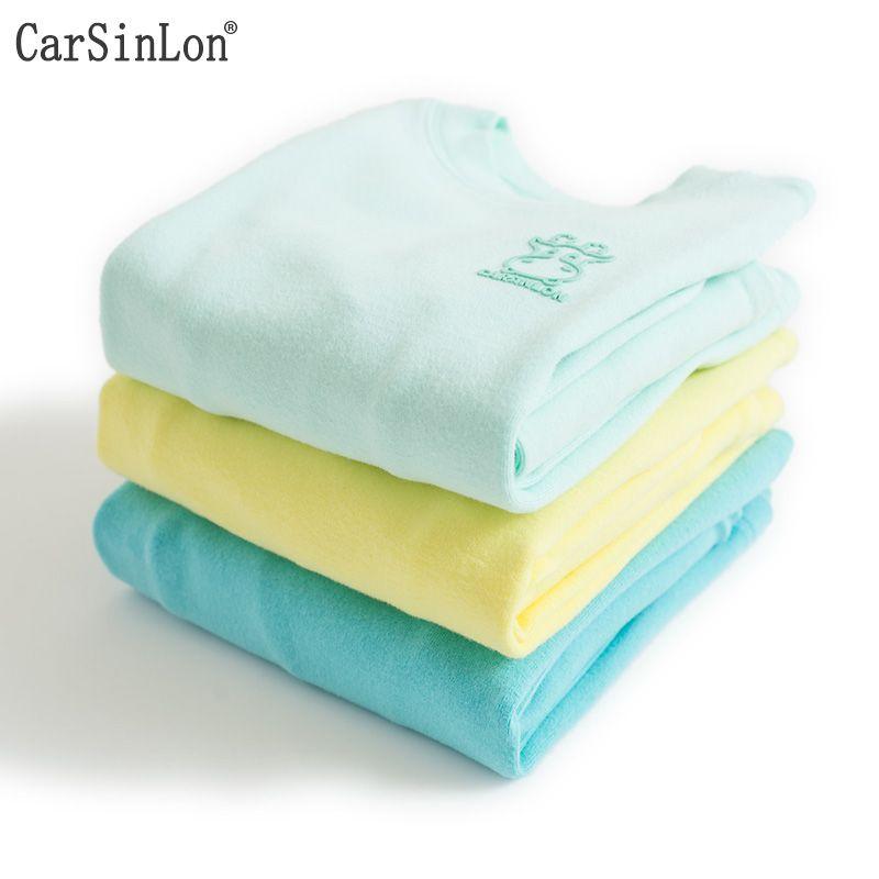 Carsinlon Kids <font><b>Thermal</b></font> Underwear Solid Colors Cotton Thick Boys Pyjamas Girls Sets For Winter Children Long Johns Warm Suits
