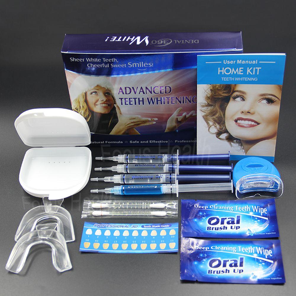 Dientes profesionales Que Blanquean el Kit 4 Gel 2 Tiras 1 LED Blanco Blanqueador de Dientes Blanchiment Dent Tanden Bleken Blanqueador Cuidado Dental