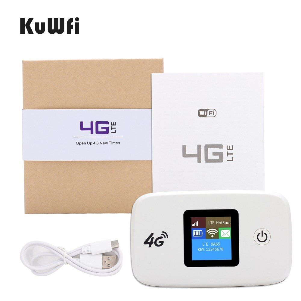 KuWFi Unlocked Car 4G Wireless Router 150Mbps 4G Modem Hotspot Pocket Router With Sim Card Solt Wi-fi Router Up To 10 Wifi Users