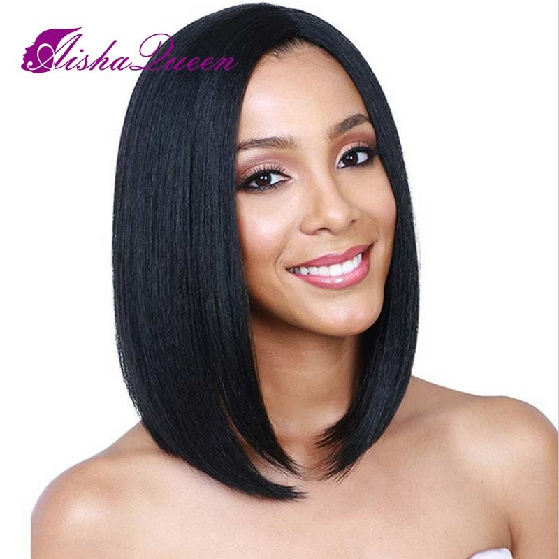 Lace Front Human Hair Wigs <font><b>Short</b></font> Bob Wigs Brazilian Remy Hair Straight For Black Women Bleached Knots Ombre Wig Human Hair
