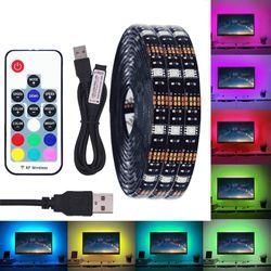 BEIYUN DC 5V USB LED Strip 5050 Waterproof RGB LED Light Flexible 50CM 1M 2M add 3 17Key Remote For TV Background Lighting