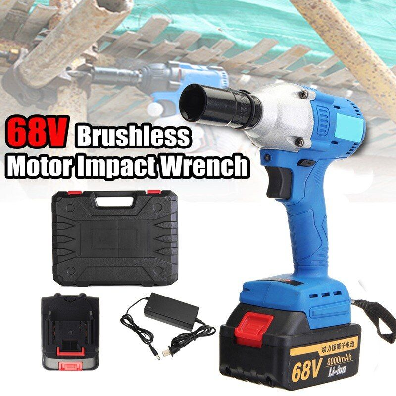 New 21-68V 220V Electric Cordless Impact Wrench Brushless Motor High Torque 3 Speed Torque 330 Nm 3200r/min +2 Battery