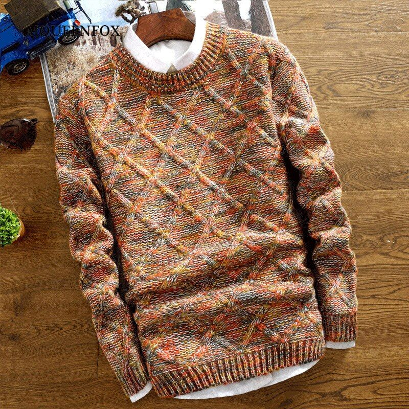 2019 New Winter Mens Sweater Pullovers Christmas Sweater Long Sleeve Knitted Sweaters Slim Fit Male Clothing