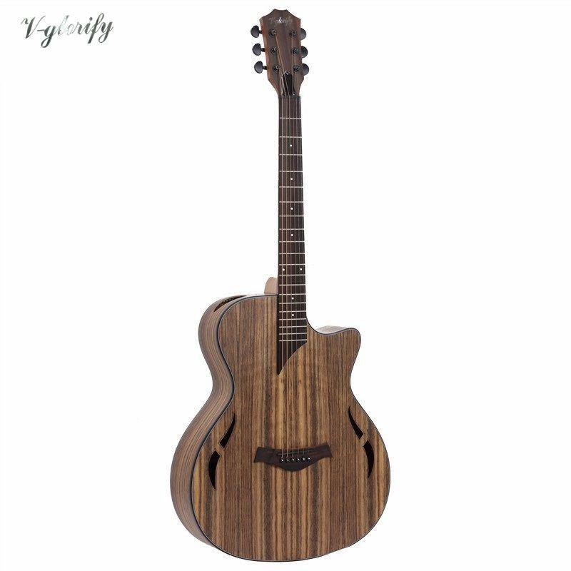 Hickory holz elektrische akustische gitarre mit EQ mit tuner/fabrik guitarra elétrica in China freies verschiffen