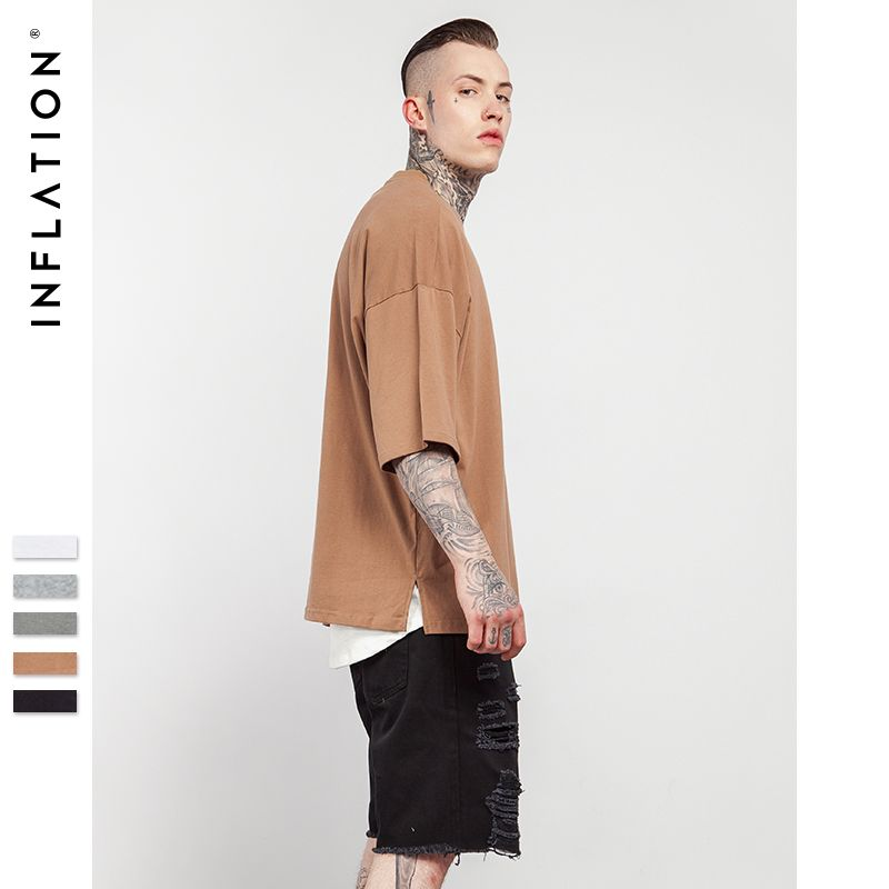 INFLATION 2018 Summer New Style Unisex Casual Solid Elbow Length Crew <font><b>Neck</b></font> Cotton Oversized Fashion Hip Hop T-Shirts 0057S17