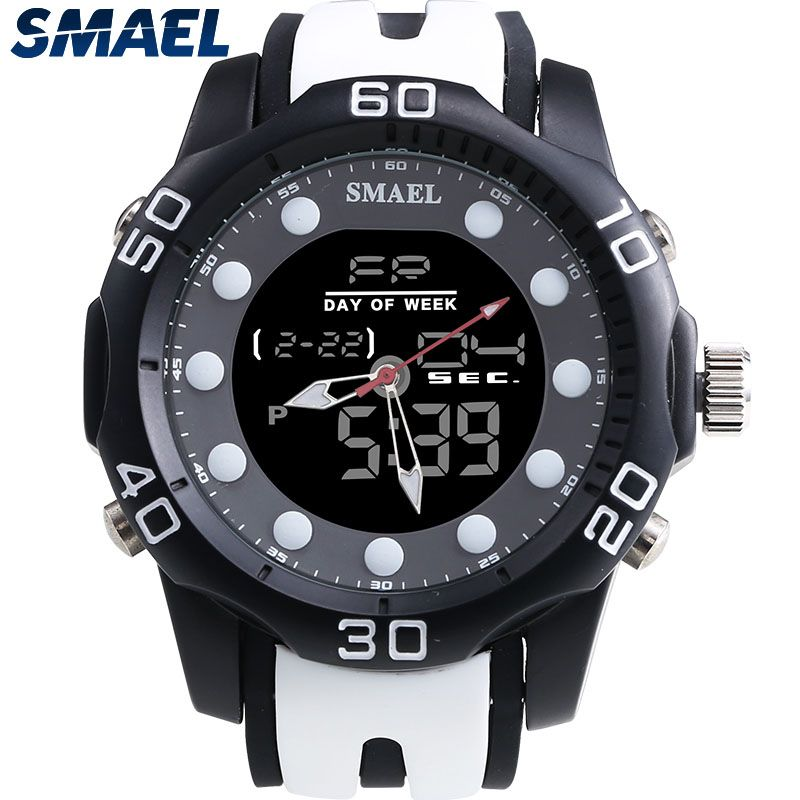 SMAEL Aolly Waterproof Male Clocks Dual Digital Display Watch Outdoor Sports LED Display Mens Watch 2017 Hot Selling Gray 1112