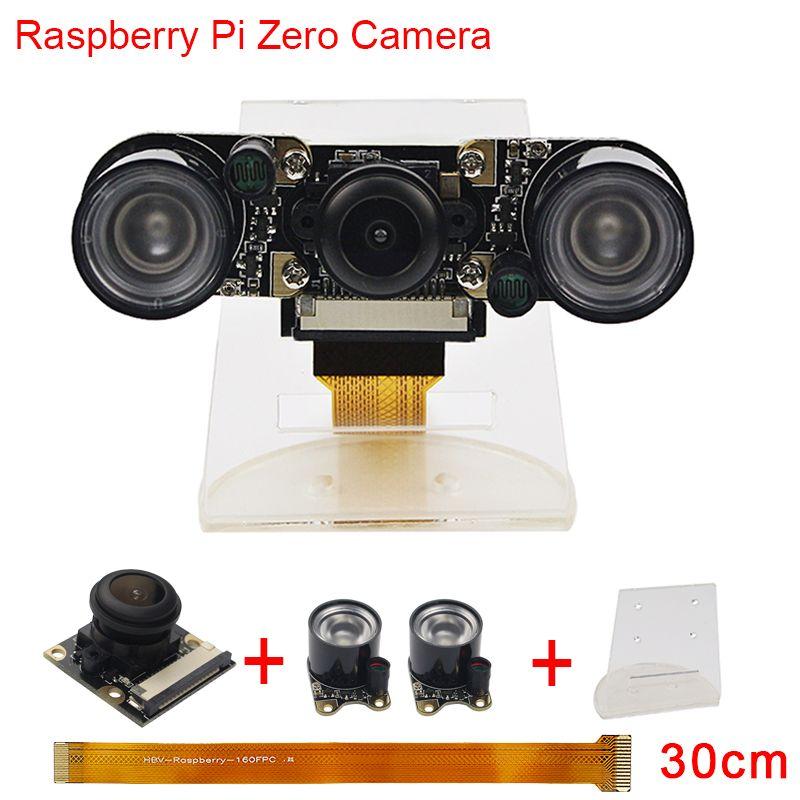 Nouveau Raspberry Pi Zéro Caméra Fish Eye Grand Angle de Vision Nocturne caméra + 2 pcs IR Capteur LED Lumière + 30 cm FFC + Acrylique Titulaire RPI0