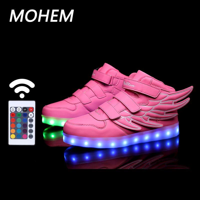 2017 крыло с подсветкой для детей повседневная обувь USB обувь мальчиков и девочек светящиеся кроссовки с 7 видов цветов свет новый 25-40