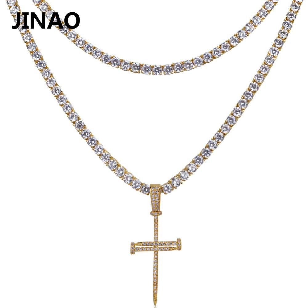 JINAO Nail Cross Pendant Necklace All Iced Out Micro Pave CZ Stones 2 Different Size Tennis Chains Pendant Necklaces. Best Gift
