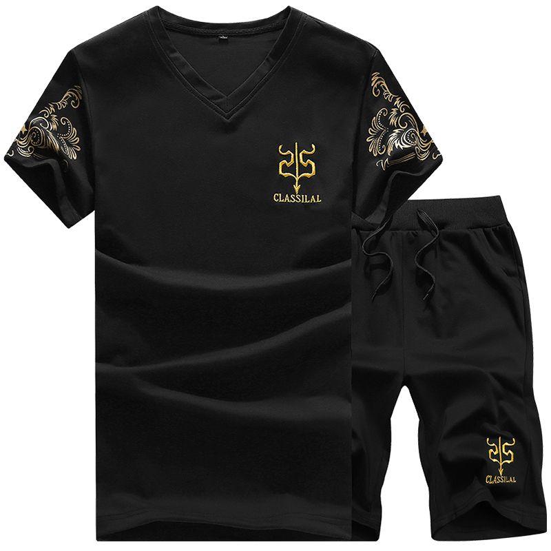 2016 großen Größe 3XL Klassischen Schwarz Weiß Grau Navy Kurzarm V-ausschnitt Tunnelzug Hose Bosco Trainingsanzug t-shirt Sommer