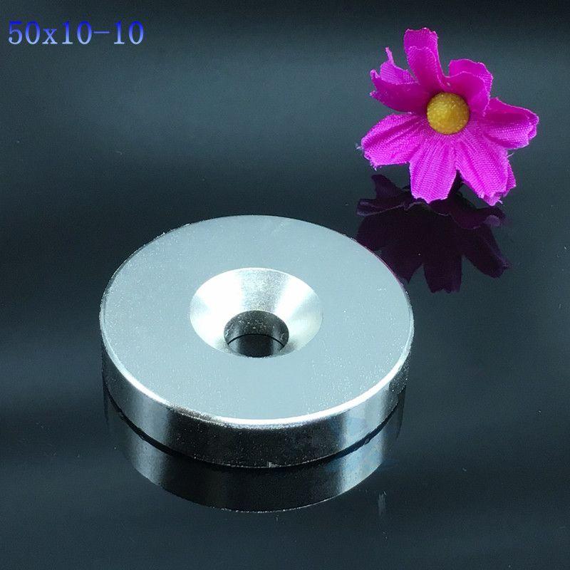 1pc 50*10 trou 10mm N35 Neodymiu aimant 50x10 trou 10mm disque fort nd-fe-b néodyme aimant Art Craft connexion livraison gratuite