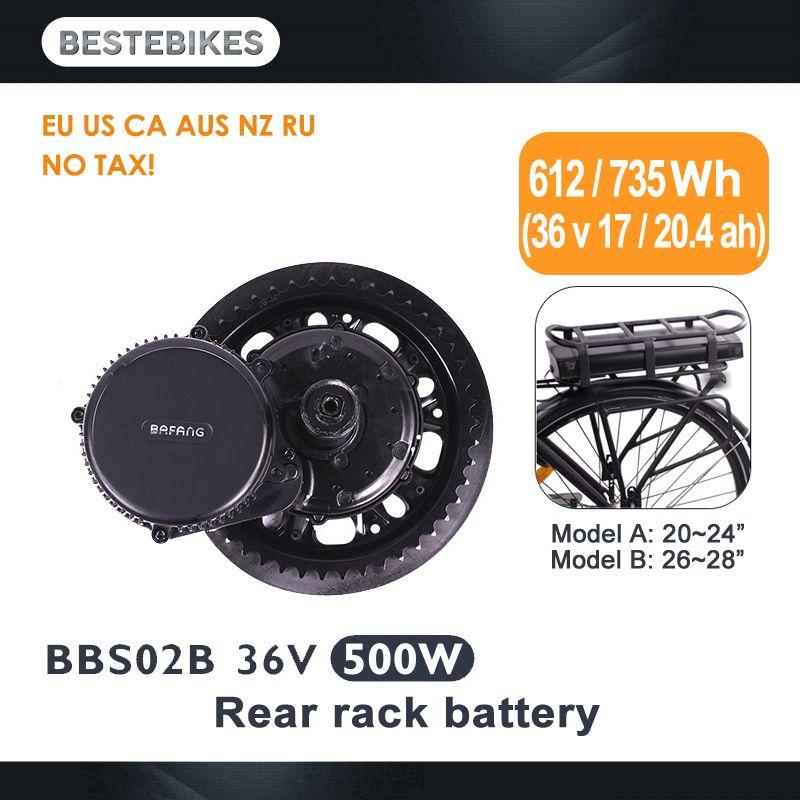 Bafang motor BBS02B 36 V 500 w dame elektrische bike conversion kit elektrische fiets 20/24/26/ 28 700C 36v17ah/20.4ah EU UNS KEINE STEUER