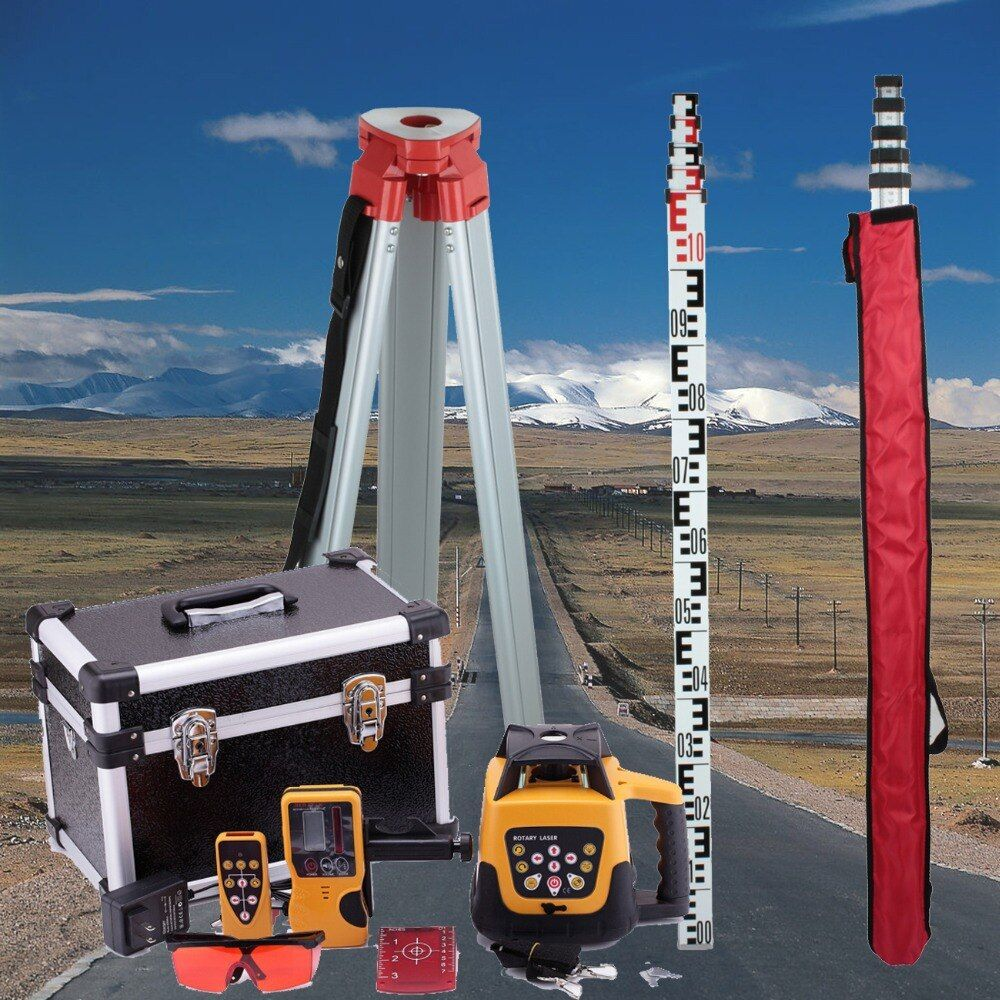 Brand New 500m Range Self-leveling Rotary Rotating Red Laser Level + Tripod + Staff
