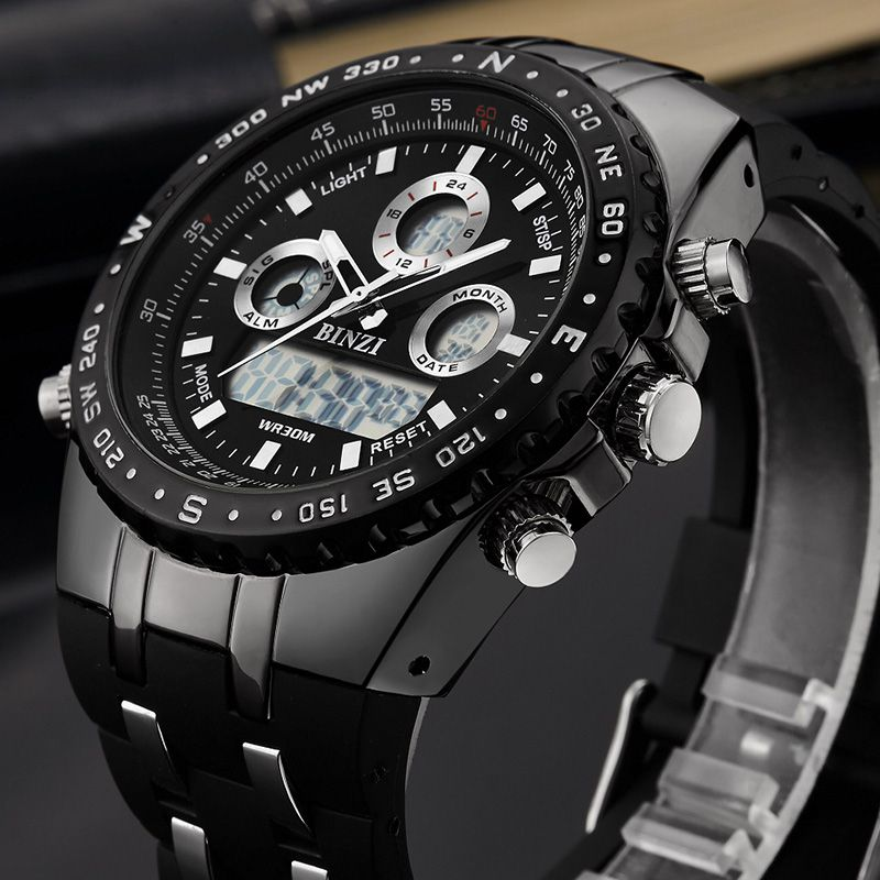BINZI Brand Luxury Sport Wrist Watch Men's Military Waterproof Watches Fashion Silicone LED Digital Clocks Men Smart Wristwatch