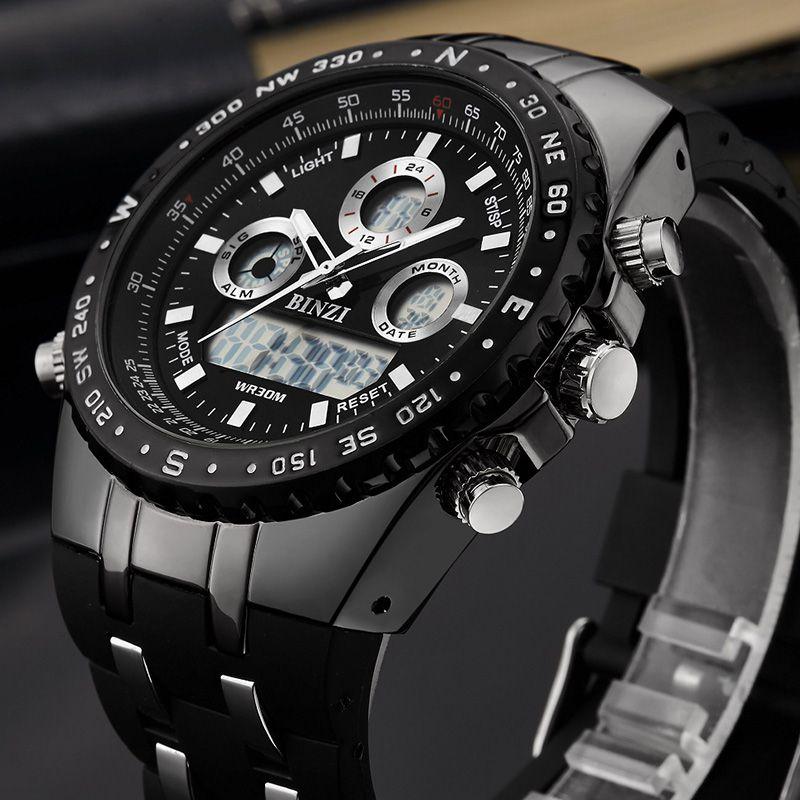 BINZI Marque De Luxe poignet de sport montre pour homme montres militaires étanches de Mode Silicone led horloges numériques Hommes montre-bracelet intelligente