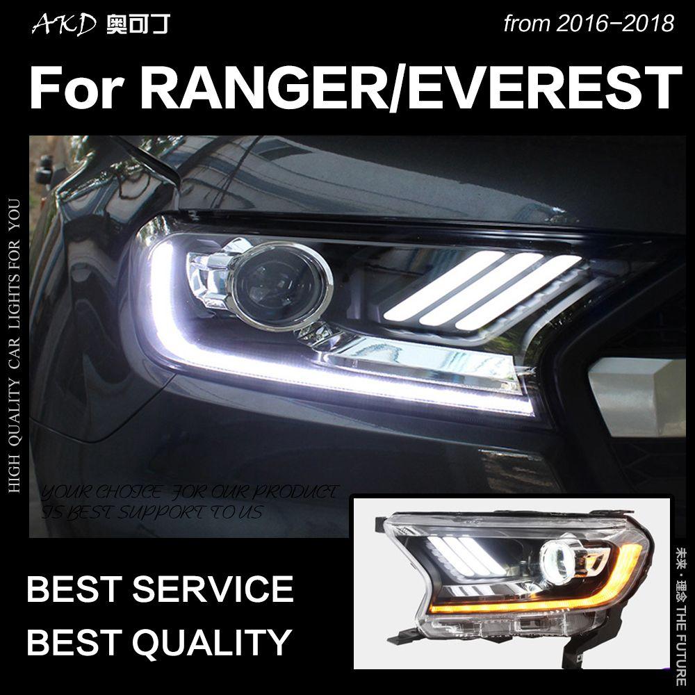 AKD Auto Styling für Ford Everest Ranger Scheinwerfer 2016-2018 Dynamische Blinker LED Scheinwerfer DRL Hid Bi Xenon auto Zubehör