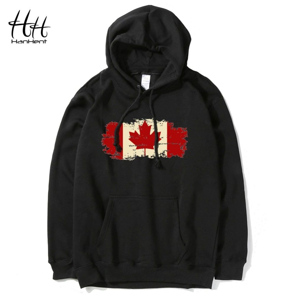 HanHent Canadá Hoja Canadian Flag Impreso Hombres Sudaderas Con Capucha Sudaderas Con Capucha Hombre Streetwear Pullover Ropa Culturismo HO0570
