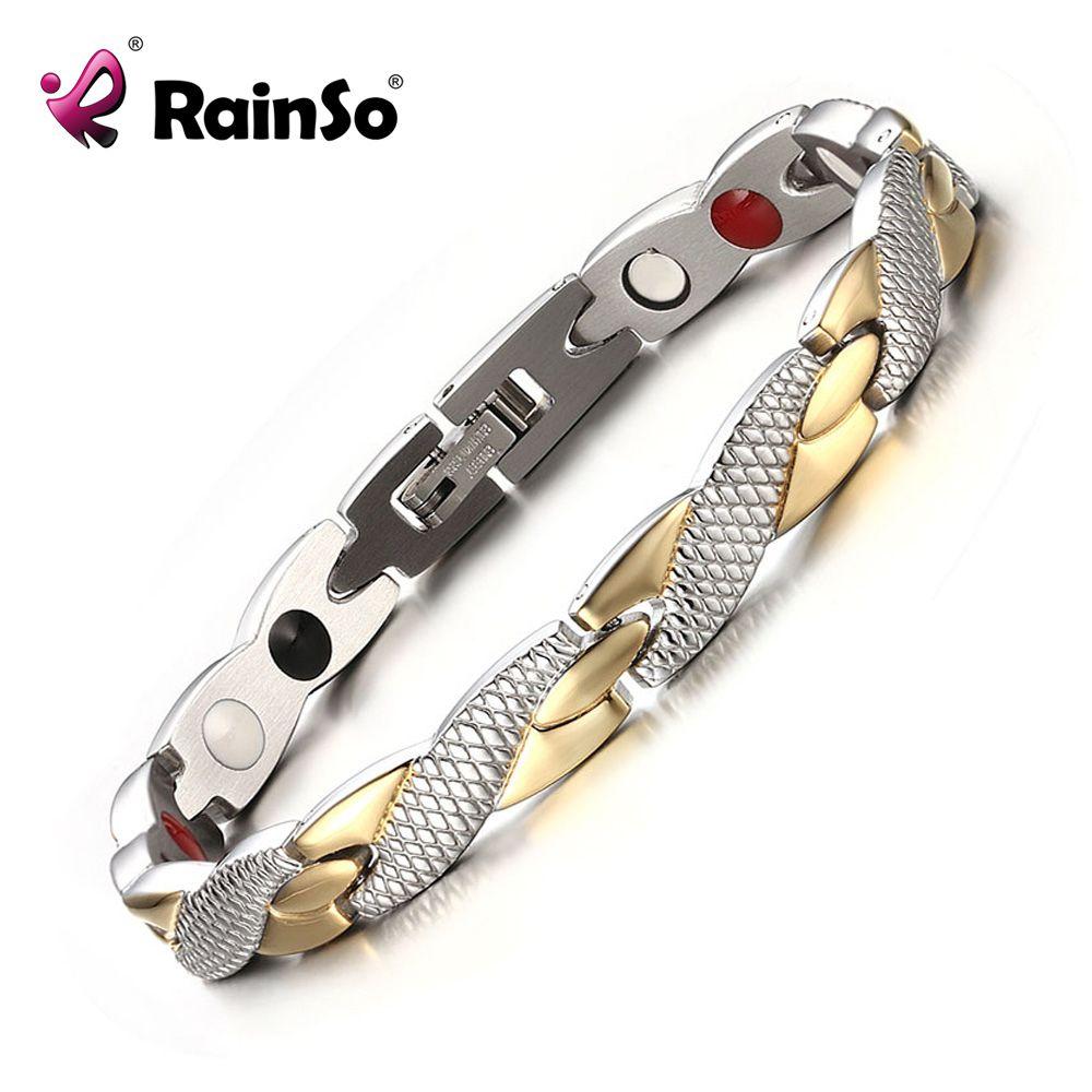 Rainso Marque Nouvelle Magnétique 4 Soins de Santé Éléments 316L En Acier Inoxydable Bracelets et Bracelets pour les Femmes Mode Bijoux OSB-692GFIR