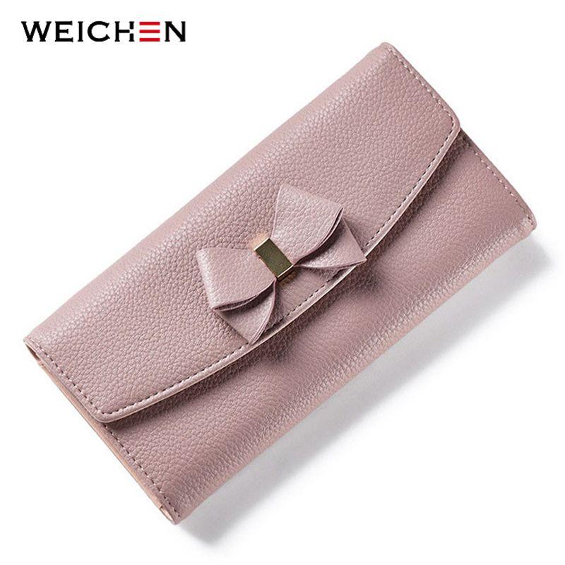 WEICHEN Bow Designer dames portefeuille de nombreux départements femmes portefeuilles avec porte-carte téléphone monnaie poche d'argent femmes sac à main Carteira