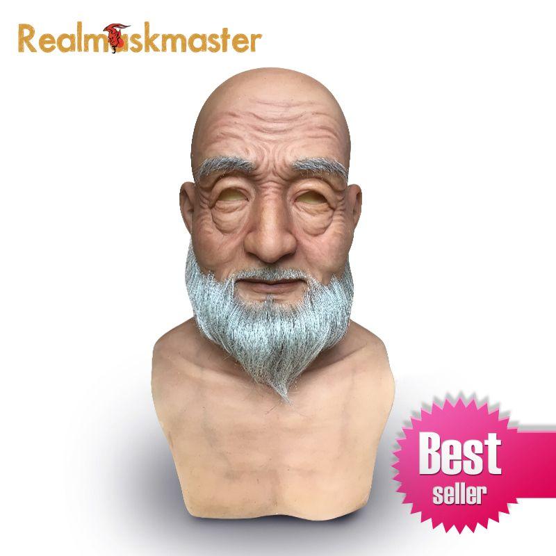 Realmaskmaster realistische halloween silikon alte mann maske Männlichen Disguise latex erwachsene full face masken partei Cosplay Requisiten