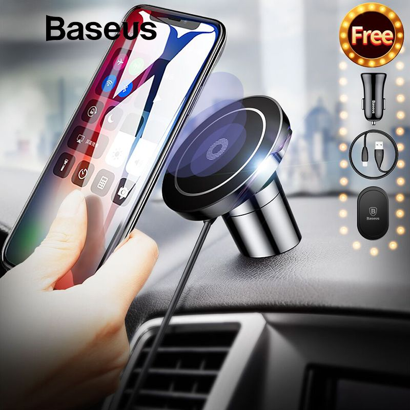 Baseus Magnetic Qi Wireless Charger For iPhone XR XS Max Samsung S9 Fast Car Wireless Charging Charger Mobile Phone Holder Stand